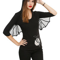Kreepsville 666 Bat Wing Girls Hooded Tunic Top