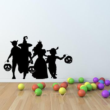 Trick or Treat Halloween Costumes Silhouette WALL ART STICKER VINYL DECAL DIE CUT for KIDS ROOM STENCIL MURAL HOME OFFICE DECOR