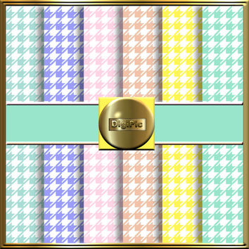 "COMMERCIAL USE OK 6 Digital Pastel Dogtooth Scrapbook Papers, 12""x12"" 300Dpi Instant Download"