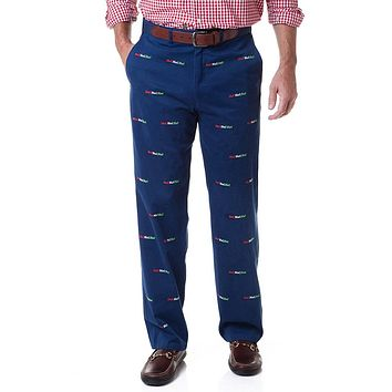 Harbor Pant in Atlantic with Embroidered Ho!Ho!Ho! by Castaway Clothing - FINAL SALE