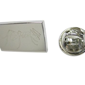 Silver Toned Etched Detailed Ant Bug Insect Lapel Pin