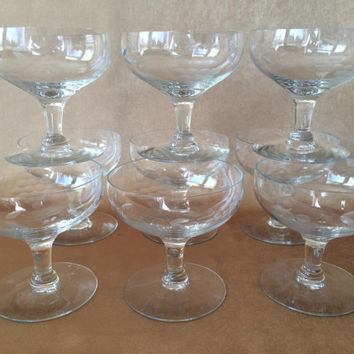Etched Crystal Glasses, Champagne or Dessert, Coupe Style, Short Stem Coupe, Etched Grape Cluster, 50s Crystal Glassware, Set of 9 Glasses,