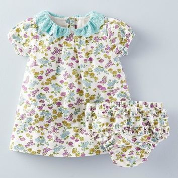 Mini Boden Broderie Collar Dress (Baby Girls) | Nordstrom