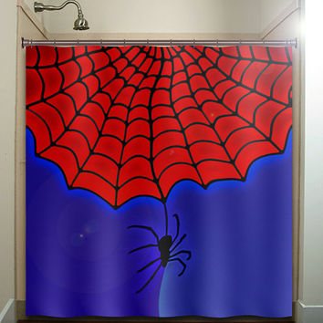blue red spider web boy man shower curtain bathroom decor fabric kids bath white black custom duvet cover rug mat window