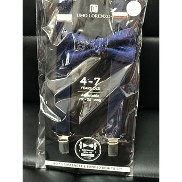 2019 Navy Blue Boys Suspender Bow Tie set