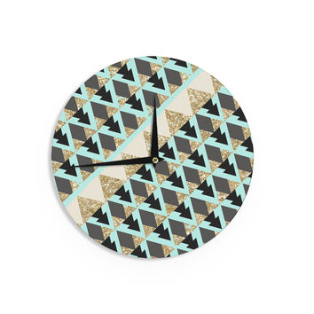 "Nika Martinez ""Glitter Triangles in Gold & Teal"" Blue Brown Wall Clock"