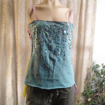 Size Med/LG Sequined Upcycled Tank Top Boho Disco Hippie New Years Eve Festival Embellished Tank Summer Sexy Vintage Hippie 70's 80's 90's