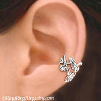 925 Art Nouveau - Sterling Silver ear cuff earring jewelry -  non pierced flower and leaf earcuff  011013