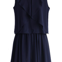Tired of Grace Frilling Dress in Navy Blue