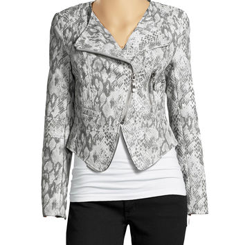Women's grey snake print leather jacket