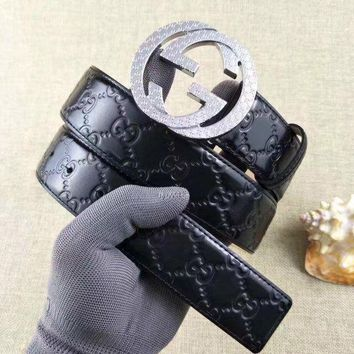 One-nice™ New Men GG Buckle Gucci Leather Belt Size EU100-110CM Discount Free Shipping