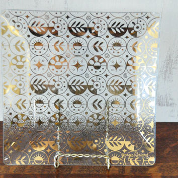 Georges Briard Square Glass Dish, Vintage Serving Tray, Gold Decoration, Bent Glass, Mid Century Modern, Forbidden Fruit Pattern