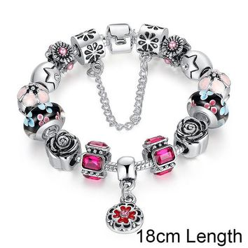 Silver Original Glass Bead Strand Bracelet for Women With Safety Chain & Crystal Fashion Jewelry 18CM 20CM 21CM PA1836