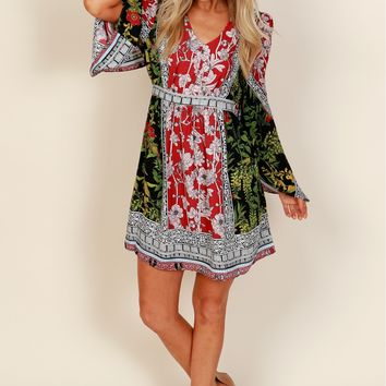 Seek & Find Print Dress Burgundy