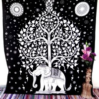 White Black Elephant Tree of Life Large Bedspread Mandala Tapestry Tapestries Wall Decor Hanging
