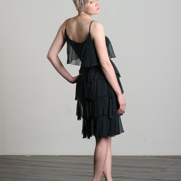 Vintage 1960s black tiered chiffon cocktail dress by Jr Theme, LBD, Small