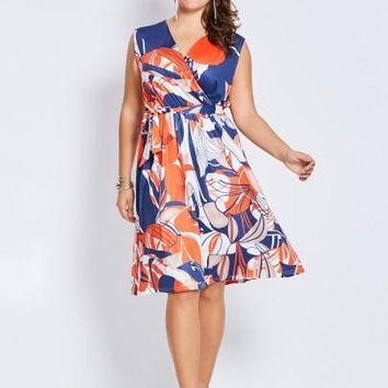 Plus Size Printed V-Neck Sleeveless Women's Day Dress