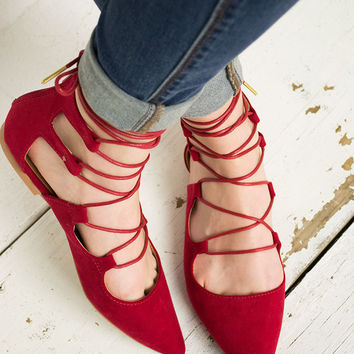 Graceful Lace Up Flat Shoes