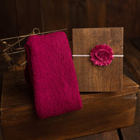 Set: Fuchsia Pink Stretch Knit Wrap and Floral Shabby Headband, newborn baby layer photography prop