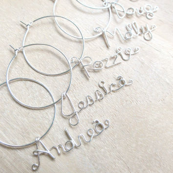Personalized Name for Wine Glass handmade wire Single by rozzie