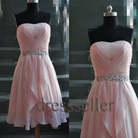 Custom Beaded Pink Short Bridesmaid Dresses 2014 Bridesmaid Dresses Cheap Prom Dresses Homecoming Dress Cheap Party Dress Evening Dresses