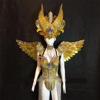 Carnival Gold Cosplay Wings Headpiece Catwalk Ballroom Costume Stage Dance