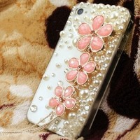New Handmade Luxury Designer Bling 3D Colorful Special Crystal Pearl Flower Cheery Case Cover For Apple iPhone Smart Mobile Phones (iPhone 5C, Pink)