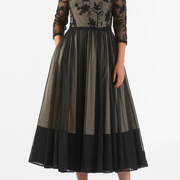 Floral embroidered tulle lace trim dress