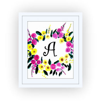 Printable monogram letter, A, floral PINK wall art, baby boy girl Name initial, print custom, personal letters, Nursery decor, digital BLACK