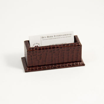 """Brown """"Croco"""" Leather Business Card Holder"""