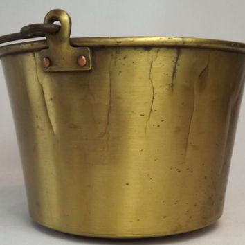 Antique Spun Brass Bucket Pail, Brown & Brothers Waterbury Conn, 1800's Riveted Milking Pail, Primitive Farmhouse Decor