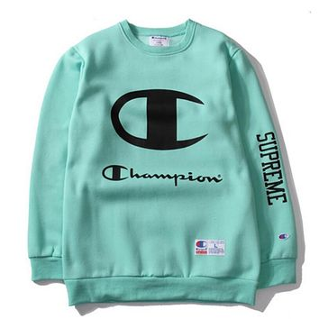 Champion Fashion Classic Print Big Logo Round Collar Sport Top Sweater Sweatshirt Green