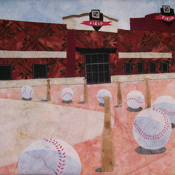Art Quilt Take Me Out to the Ball Game - Outside