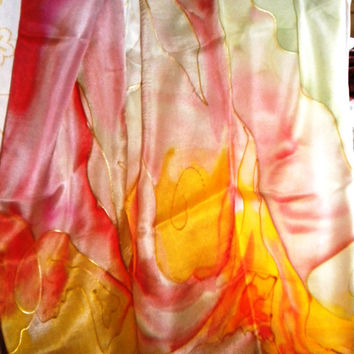 Paradise Bird...silk scarf Hand paited 140x45cm Women F Gift for Her. Dragonflies Shawl for Dress.