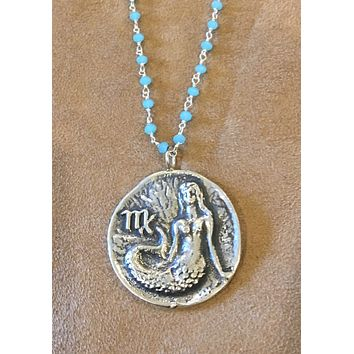 "Sterling silver vintage Mermaid with an ""M"" (may be Virgo) Pendant Necklace with Chaceldony wire wrap chain"