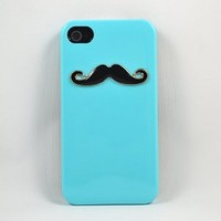 Handmade Unique Mustache Iphone 4/4s Case-blue