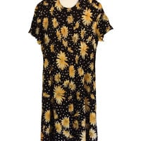 90s Floral Dress 1990s Dress Long Floral Dress Summer Dress Long Black Dress Yellow Dress Women Long Dress Women Rayon Dress Short Sleeve