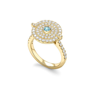 Kiki McDonough Fantasy Diamond & Blue Topaz Disc Ring