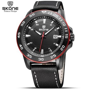 SKONE Male Auto Date Scrub Genuine Leather Strap Watches Men Luxury Brand Casual Watch Boys Waterproof Sports Wristwatch 2016