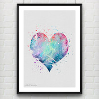 Heart Watercolor Art Print, Love, Valentine's Day, Wedding or Engagement Gift, Wall Art, Home Decor, Not Framed, Buy 2 Get 1 Free! [No. 07]