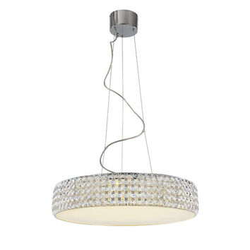 Trans Globe Lighting MDN-1168 Polished Chrome Crystal LED 23-Inch Pendant with Diamond Cut Crystal Insets and Patterned Glass Diffuser