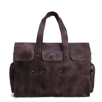 BLUESEBE HANDMADE VEGETABLE TANNED LEATHER TOTE BAG, OVERNIGHT BAG 9035-DC
