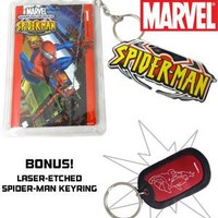 Spider-Man Mini Comic Book Key Chain and  Laser Etched Key Chain :