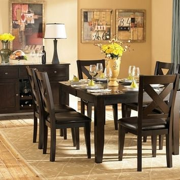Home Elegance 1372-78 7 pc crown point collection dark cherry finish wood dining table set with upholstered seats