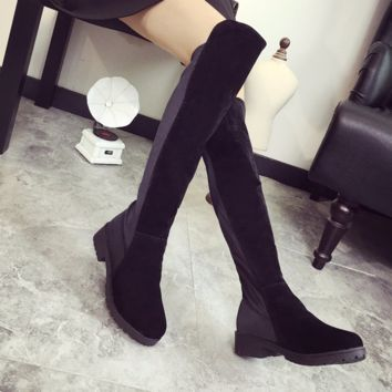 Stylish Black Knee High Riding Boots