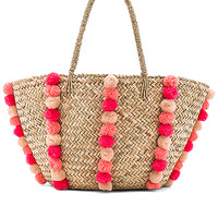 Seafolly Carried Away Pom Pom Beach Basket in Natural