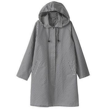 Women Polyester Raincoat - Gingham Check
