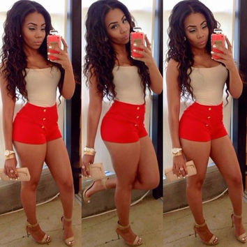 Scoop Sheath Vest High Waist Button Shorts Two Pieces Set