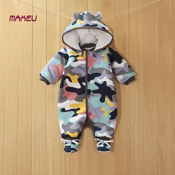2018 New Baby Clothes Detachable Newborn Baby Cotton One-piece Thick Hooded Baby Warm Winter Clothes Baby Romper Animal Style