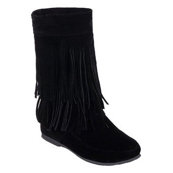 Ankle Boots With Fringe and Suede Design